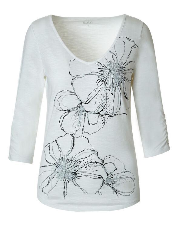 Ivory Floral Cotton Slub Tee, Ivory, hi-res