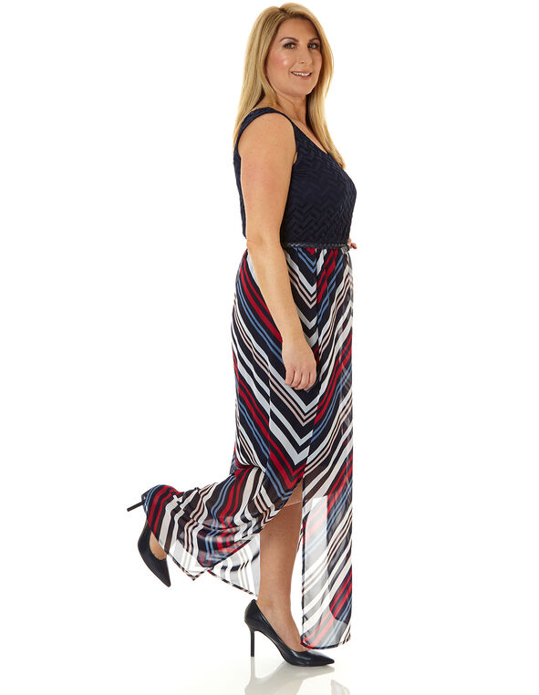 Navy Printed Maxi Dress, Navy, hi-res
