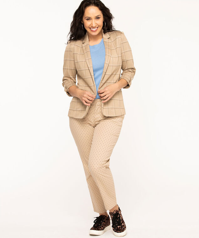 Tan Plaid Open Blazer, Tan Plaid