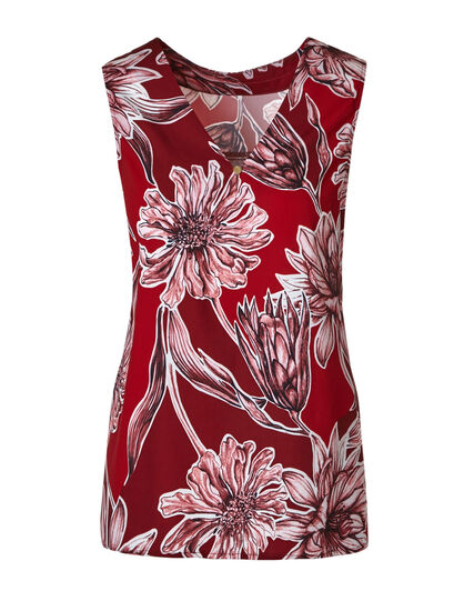 Red Floral Shell Blouse, Red, hi-res