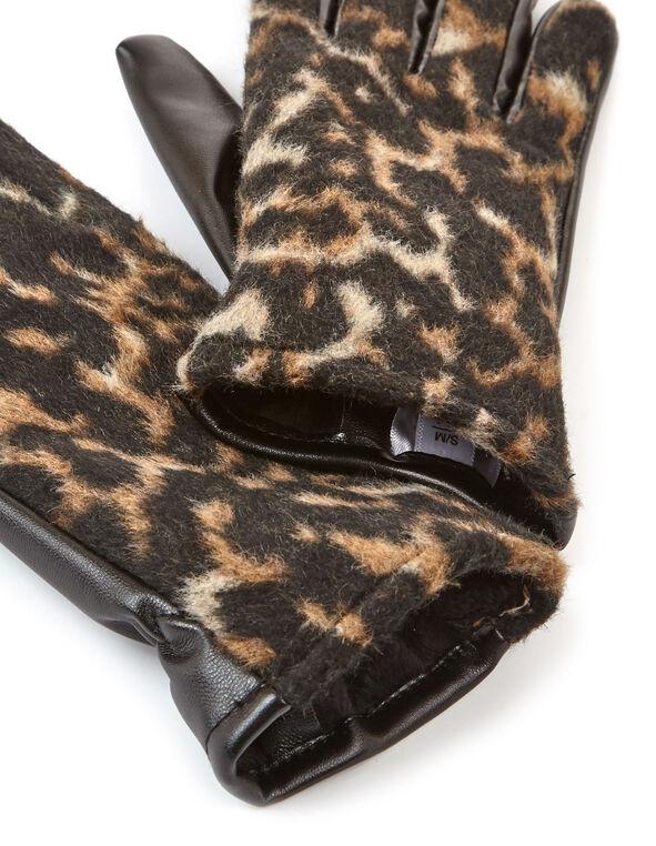 Black Leather Fur Textured Glove, Neutral, hi-res