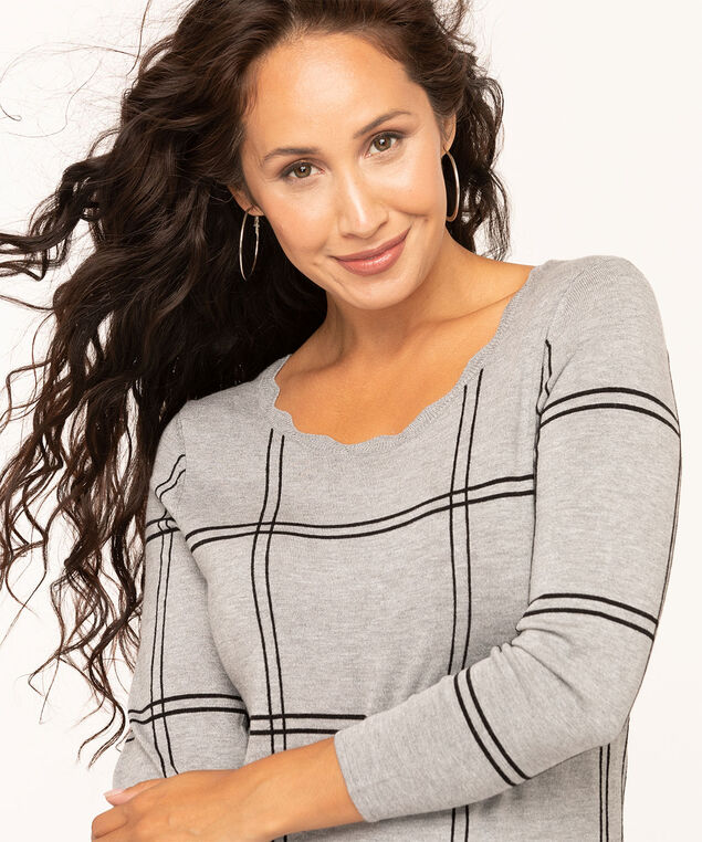 Scallop Edge Pullover Sweater, Grey, hi-res