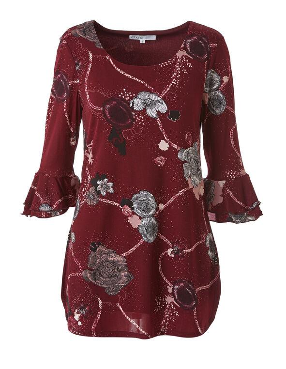 Merlot Floral Mesh Tunic Top, Merlot, hi-res