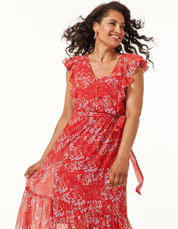 Floral Ruffle Maxi Dress, Coral, hi-res