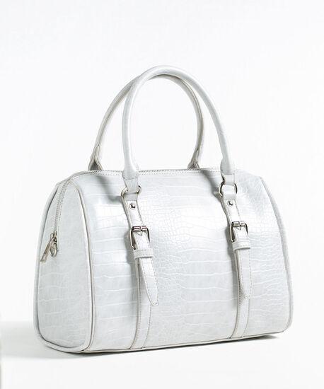 Grey Croco Barrel Handbag, Grey, hi-res