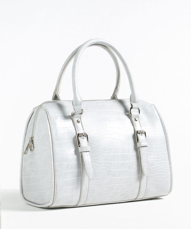Grey Croco Barrel Handbag, Grey, hi-res