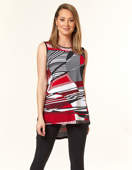 Red Striped Tunic Top, Red/Black, hi-res