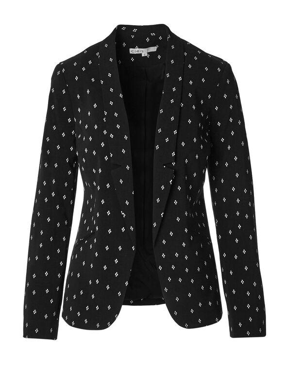 Black Diamond Printed Blazer, Black, hi-res