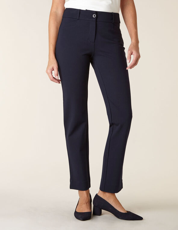 Navy Knit Slim Leg Pant, Navy, hi-res
