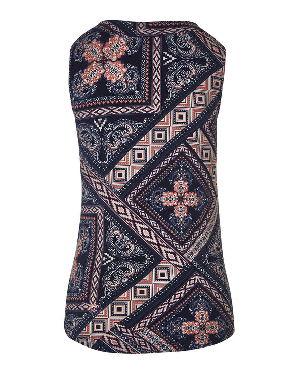 Navy Printed Sleeveless Top, Navy, hi-res