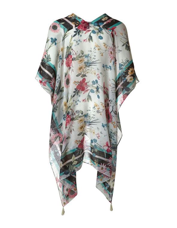 Floral Printed Kimono, Ivory, hi-res