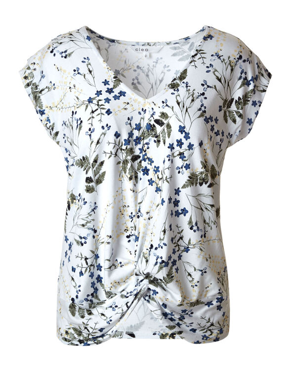 White Printed Front Knot Top, White, hi-res