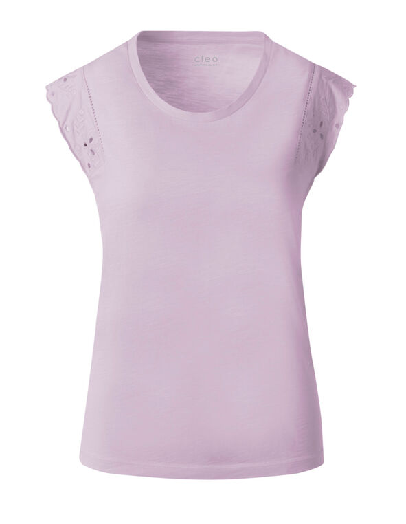 Lavender Eyelet Cap Sleeve Cotton Tee, Lavender, hi-res
