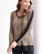 Leopard Printed Chiffon Hem Top, Brown, hi-res