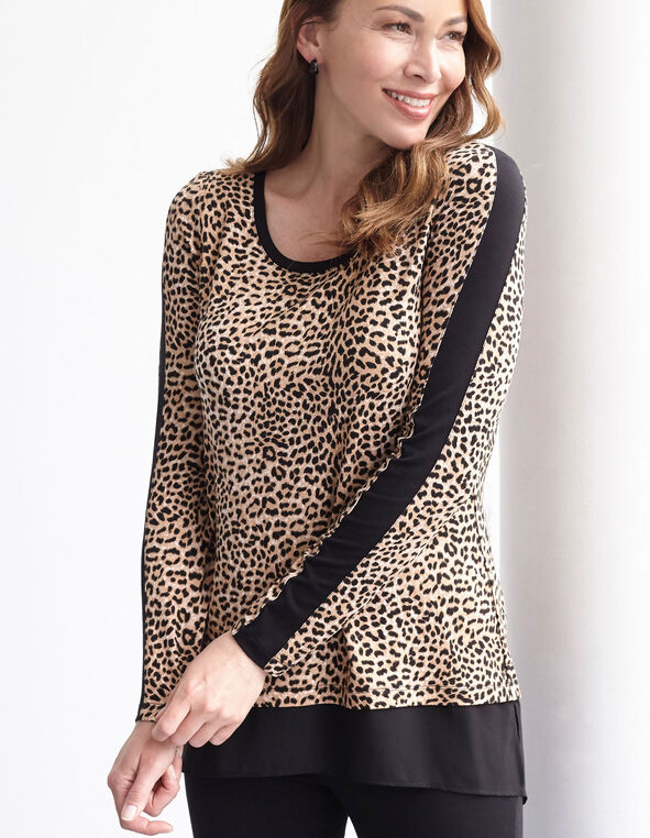 Leopard Printed Chiffon Hem Top, Brown, hi-res