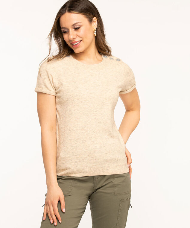Button Shoulder Pullover Sweater, Oatmeal Mix