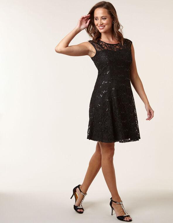 Black Lace Overlay Fit & Flare Dress, Black, hi-res