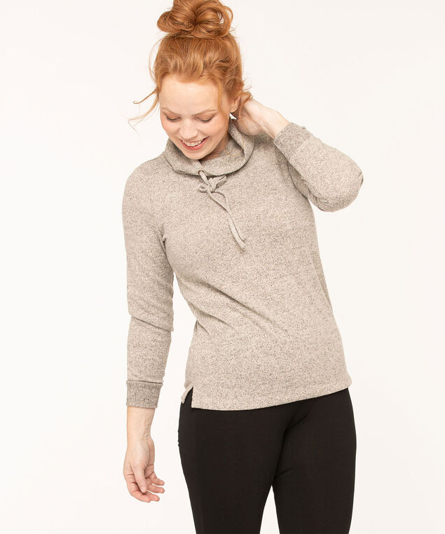 Hacchi Funnel Neck Pullover, Light Grey Mix