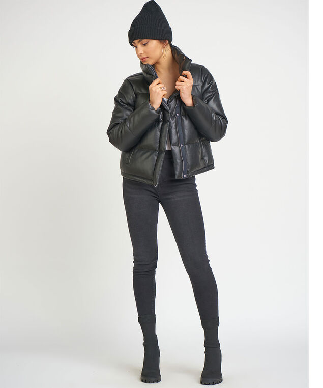 Dex Faux Leather Mini Puffer, Black
