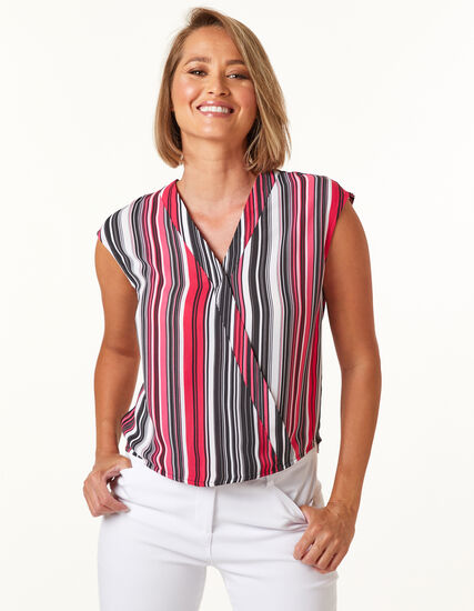 Pink Stripe wrap Blouse, Pink, hi-res