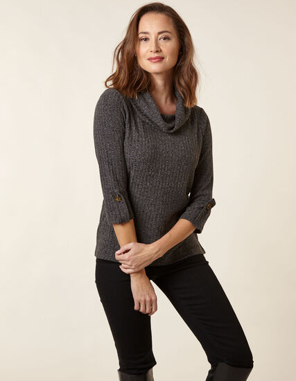 Black Mix Hacchi Cowl Neck Top, Black, hi-res