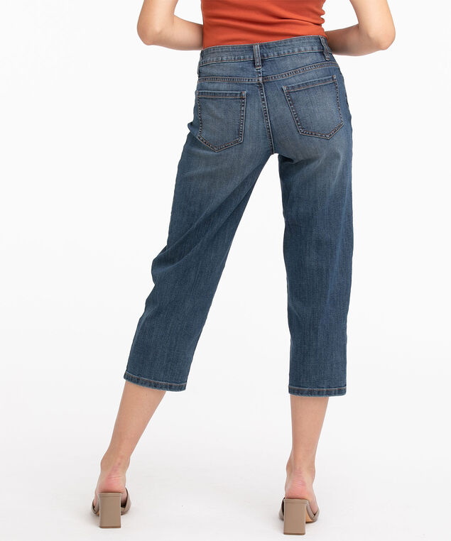 Vintage Wash Wide Leg Crop Jean, Mid Wash
