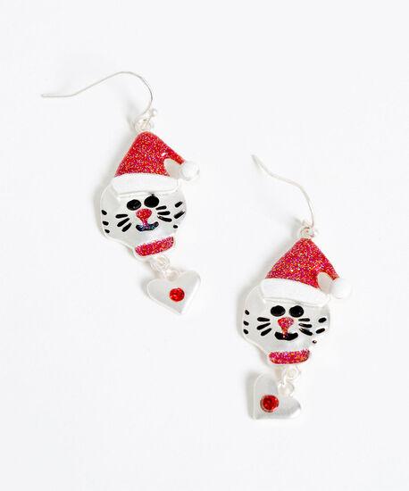 Festive Cat Earrings, Silver/Red, hi-res