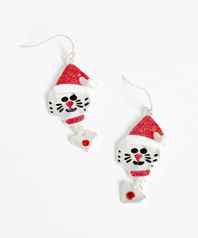 Festive Cat Earrings, Silver/Red, hi-res