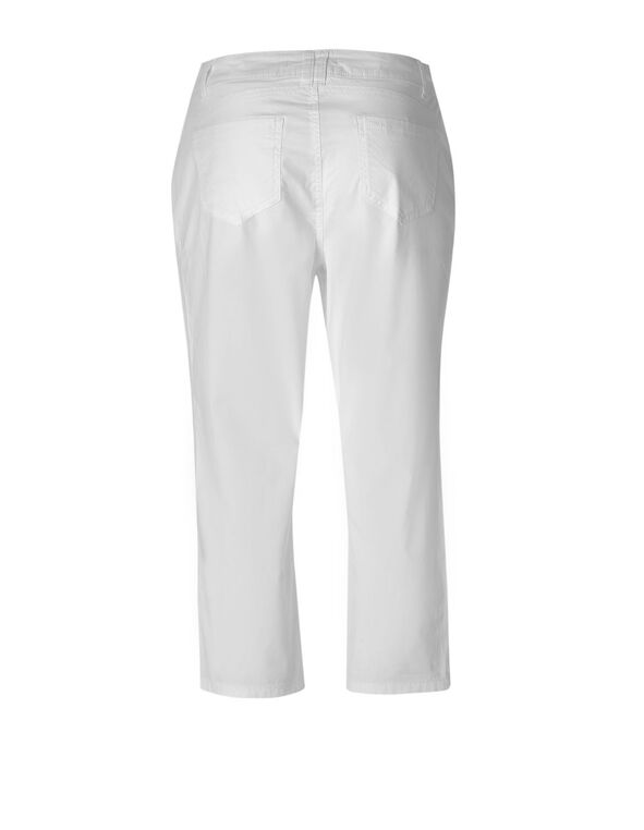 White Cotton Poplin Capri, White, hi-res