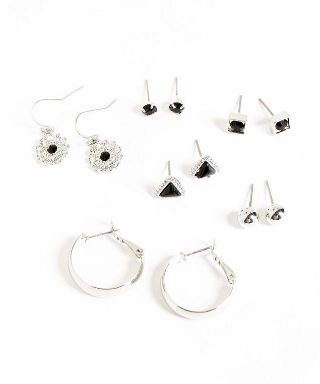 Silver & Black Earring 6-Pack, Silver/Black