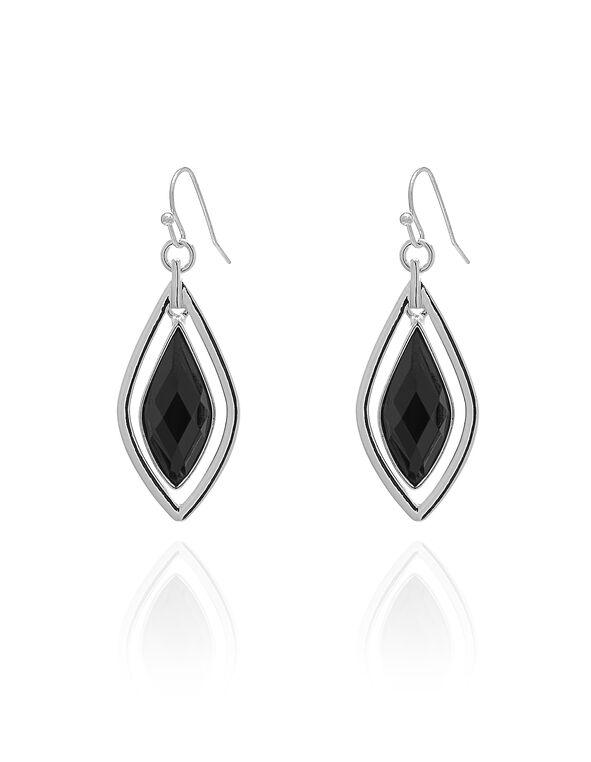 Silver Black Enamel Drop Earring, Black/Silver, hi-res