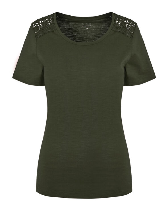 Olive Cotton Tee, Olive, hi-res