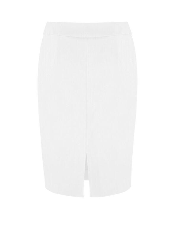 White Pull On Pencil Skirt, White, hi-res