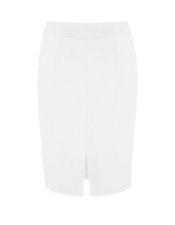 White Pull On Pencil Skirt, White, hi-res