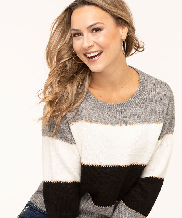 Colour Block Striped Sweater, Grey/Black/Ivory