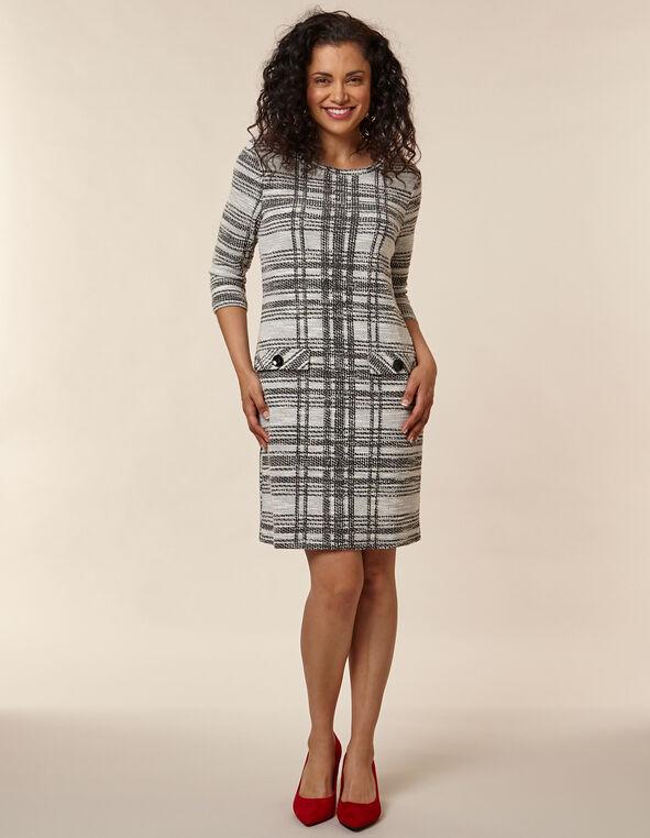 Black Patterned A-Line Knit Dress, Ivory/Black, hi-res