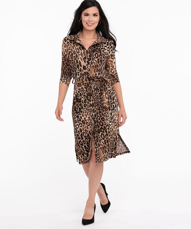 Leopard Print Midi Shirt Dress, Leopard Print