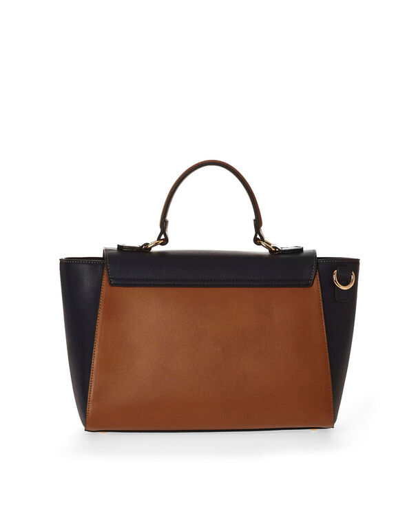 Colour Block Cross Body Bag, Navy, hi-res
