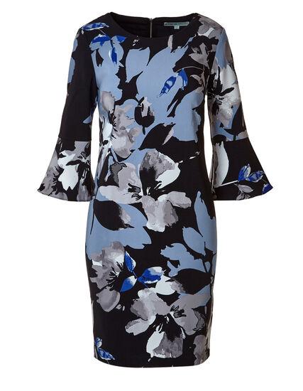 Blue Floral Bell Sleeve Shift Dress, Black/Blue, hi-res