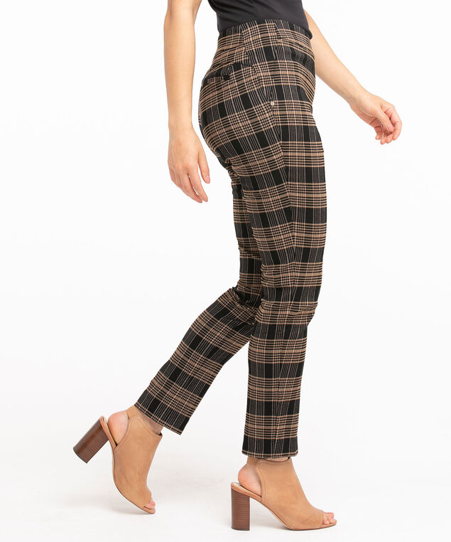 Low Impact Butt Lift Slim Pant, Walnut Plaid