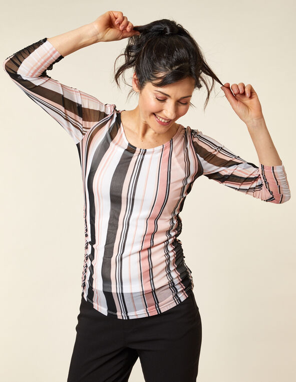 Rose Striped Mesh Top, Pink/Rose, hi-res
