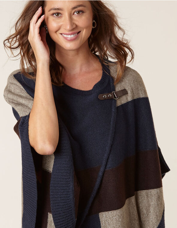 Navy Colour Block Pullover Poncho, Navy, hi-res