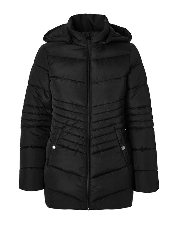 Black Polyfill Diamond Jacket, Black, hi-res