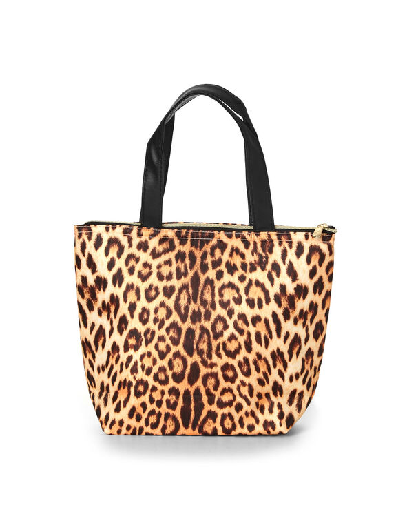 Leopard Printed Lunch Tote, Brown, hi-res