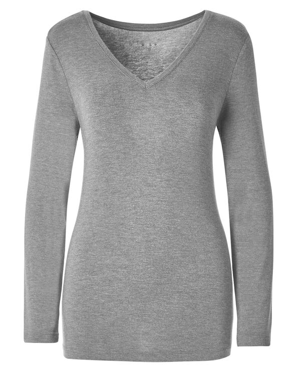 Light Grey V-Neckline Top, Light Grey, hi-res