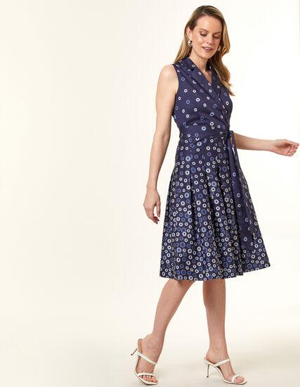 Navy Floral Fit & Flare Dress, Navy, hi-res