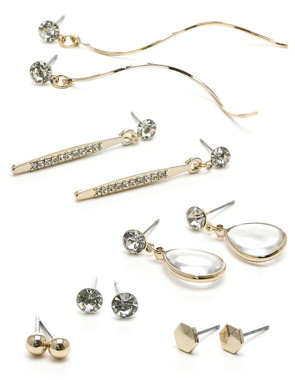 Gold Crystal 6-Pack Earring Set, Gold, hi-res