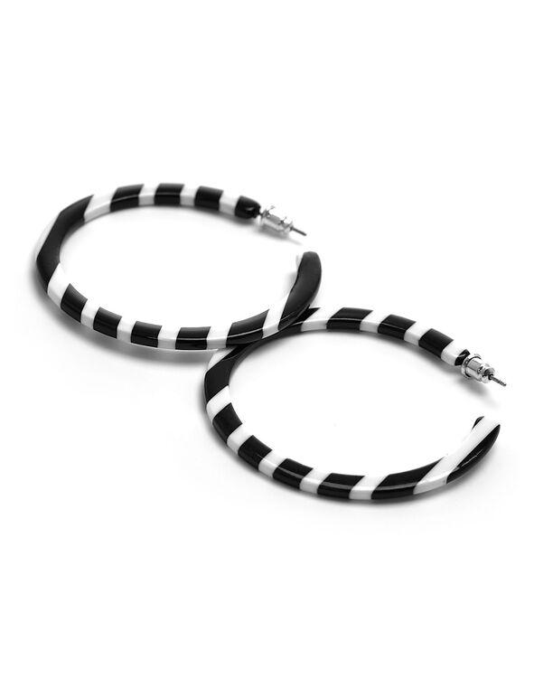 Black & White Striped Hoop Earring, Black, hi-res