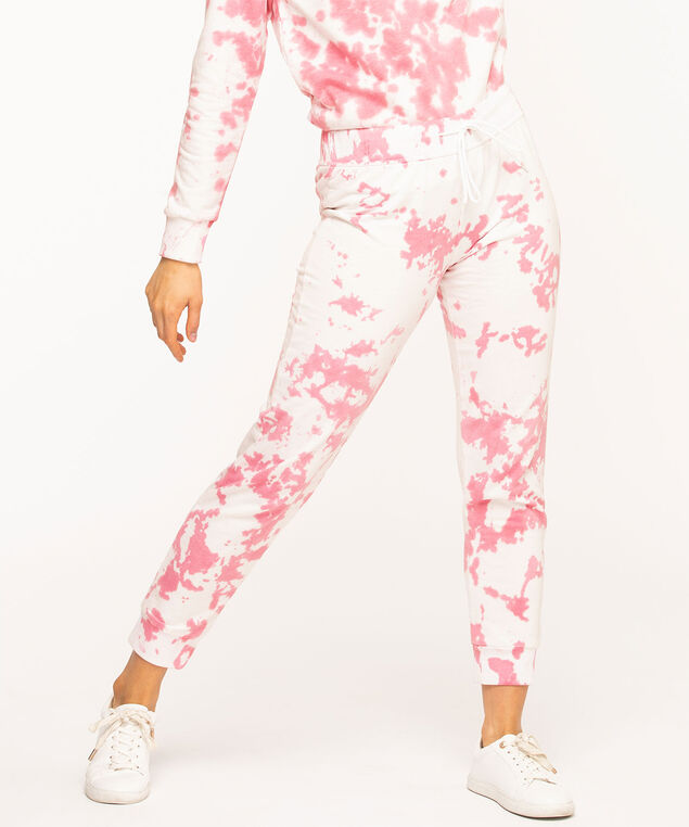 Tie Dye Fleece Jogger Pants, Pink Mix