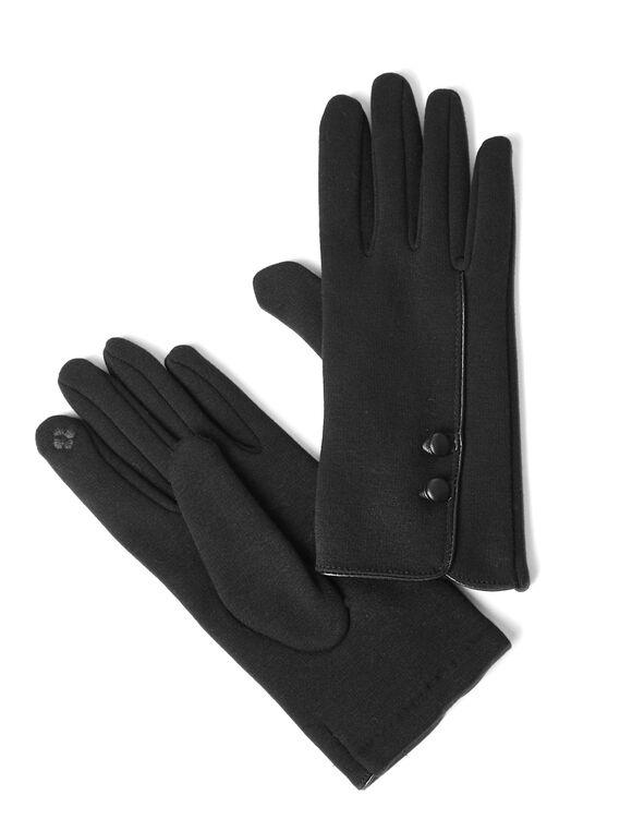 Black Text Gloves, Black, hi-res